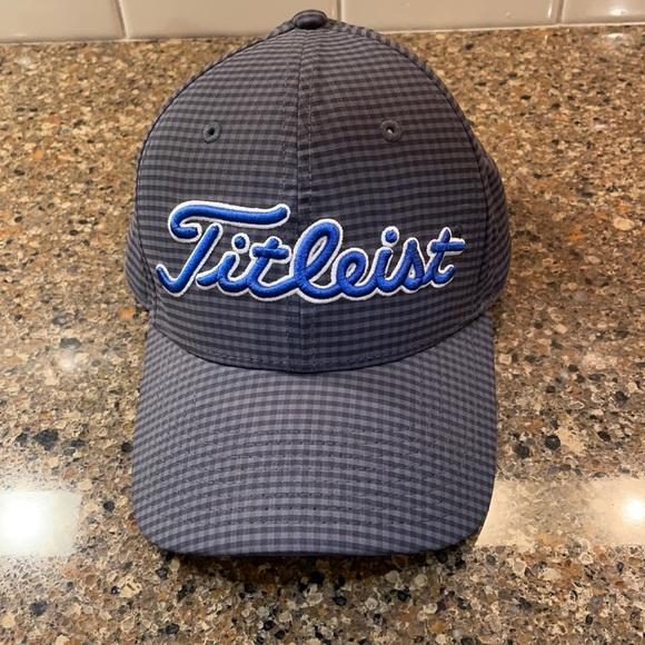 Titleist Checkered Plaid Gray Blue Golf Logo Cap